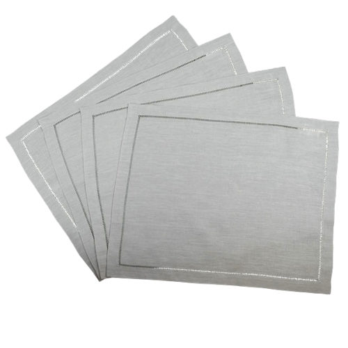 Hemstitch Placemat Collection - Silver
